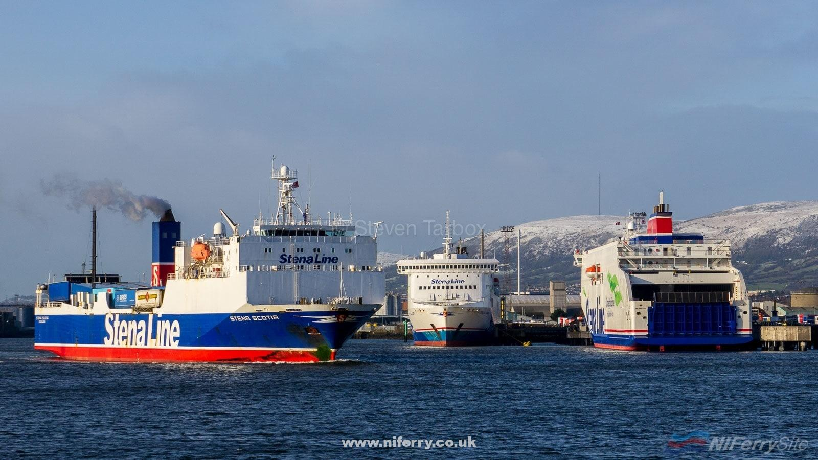 (L to R) Stena Line's STENA SCOTIA, STENA LAGAN, and STENA EDDA seen together in Belfast on the morning of 26.02.20 with 'Edda' undertaking her first trials at the port. © Steven Tarbox.