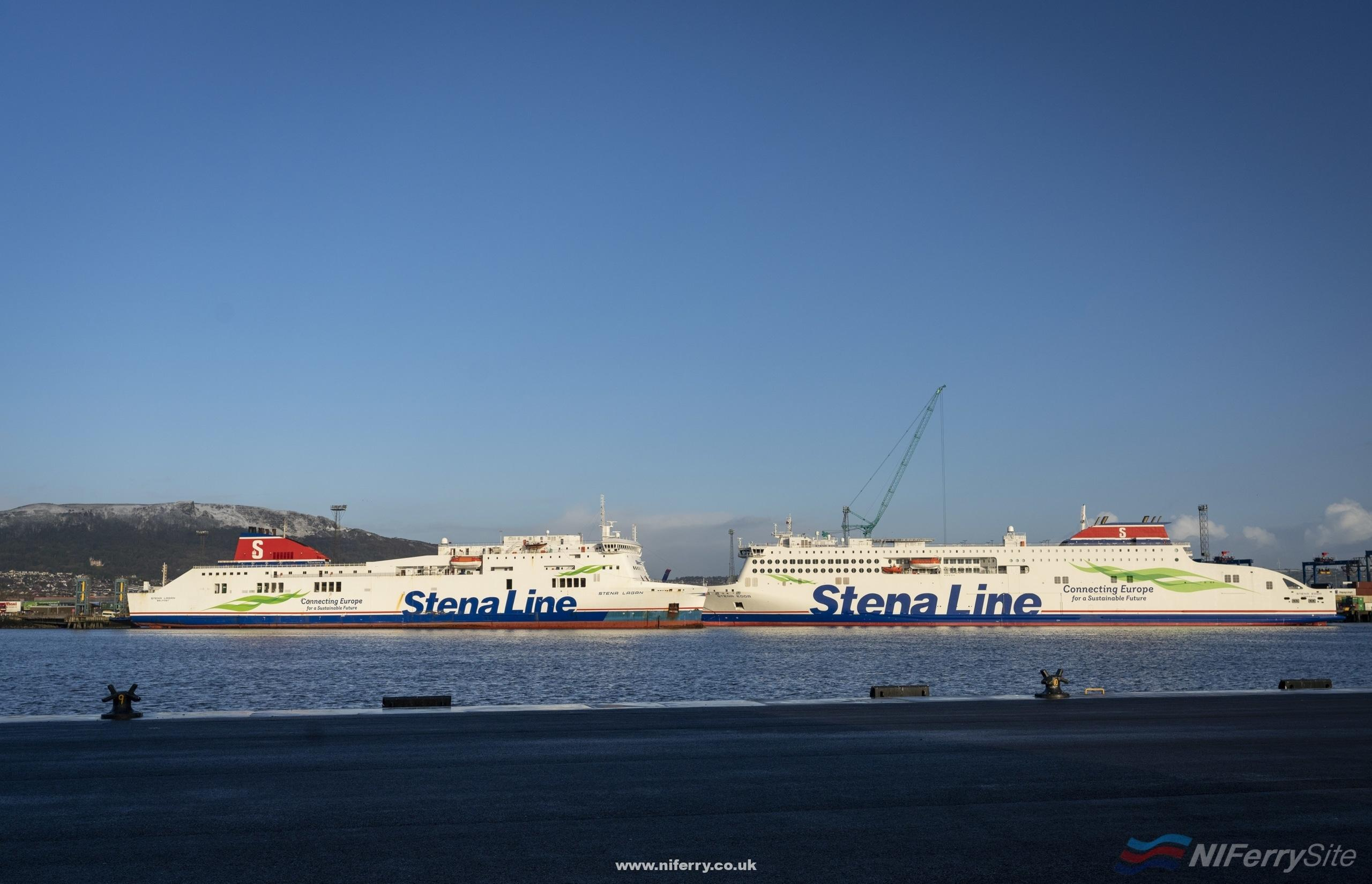 STENA EDDA and STENA LAGAN face each other at Belfast's Victoria Terminal 2 and Victoria Terminal 1 respectively. Stena Line.