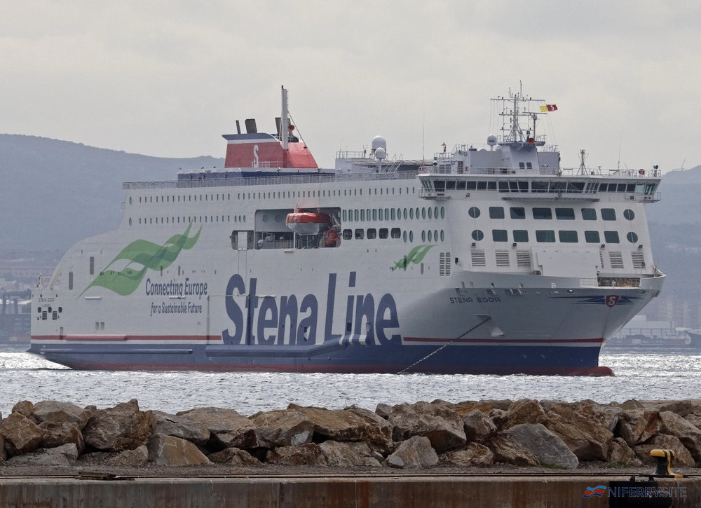 STENA EDDA seen at anchor in Gibraltar Bay while making a stop-off on her delivery voyage from China. Copyright © Daniel Ferro.