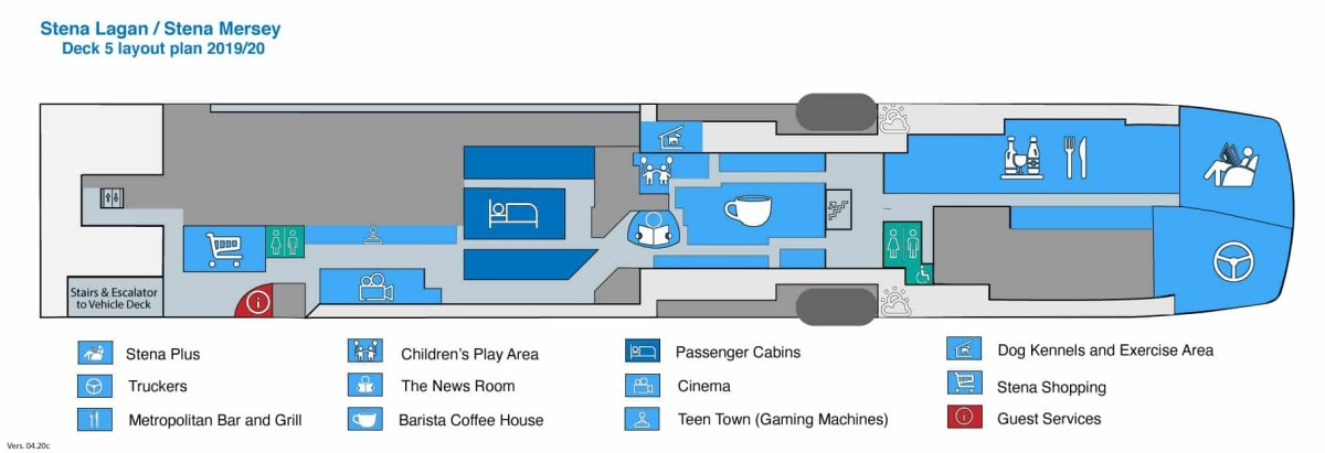 Layout plan of Deck 5 on STENA LAGAN and STENA MERSEY as it was in 2019/20. Copyright © Steven Tarbox.