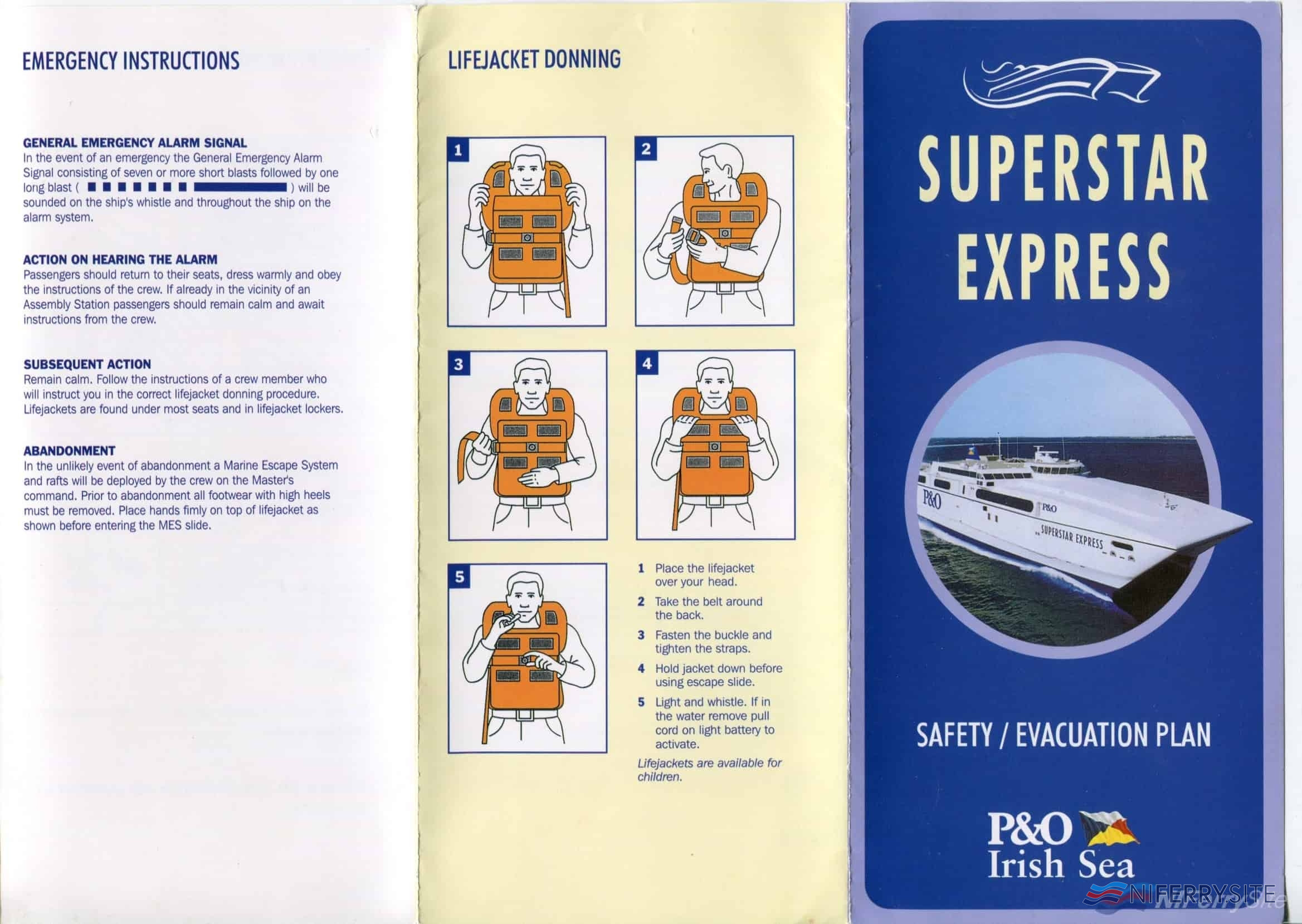 P&O Irish Sea <strong>SUPERSTAR EXPRESS</strong> Evacuation Plan Leaflet. NIFerry Archive.
