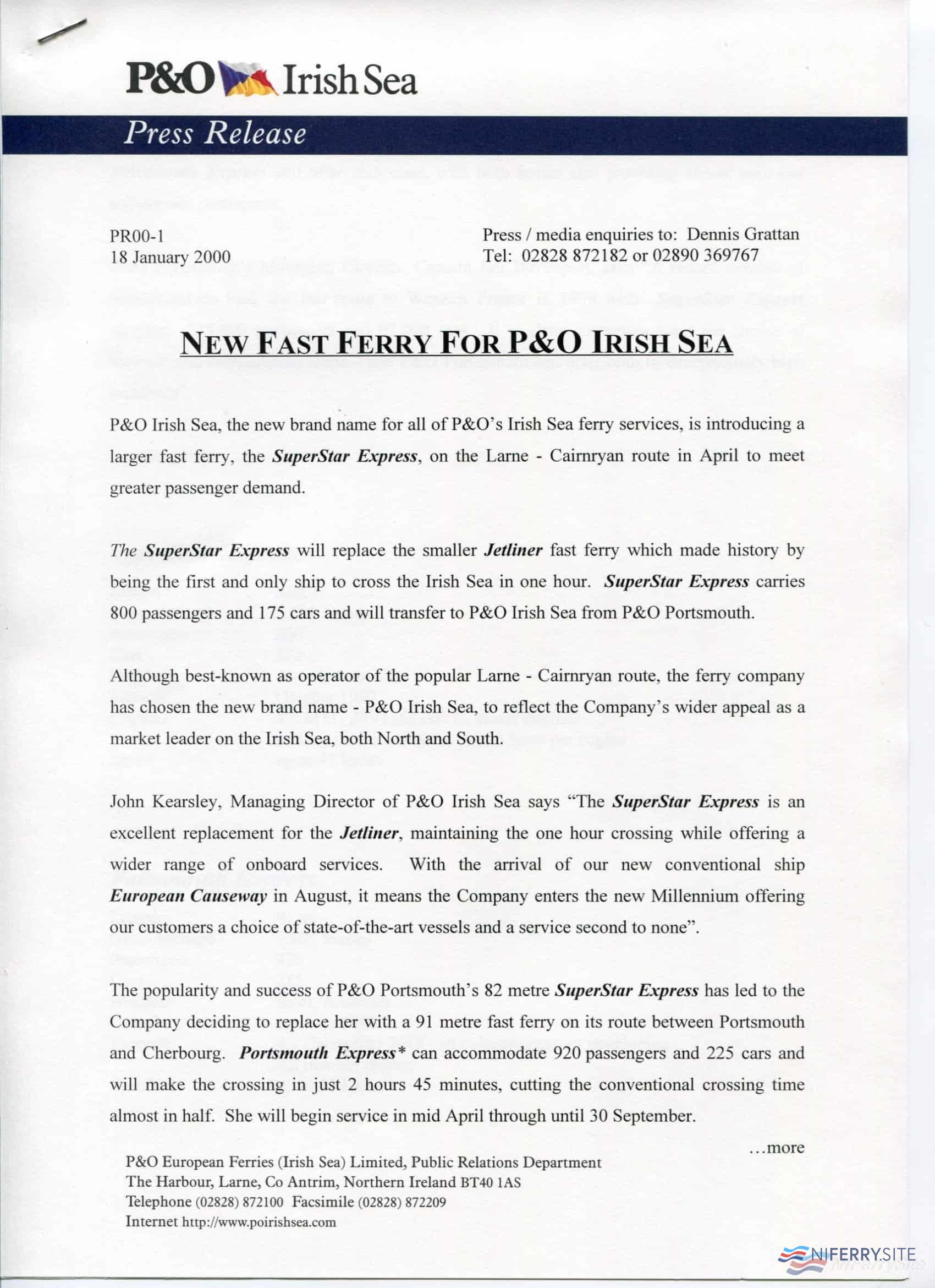 P&O Irish Sea Press Release about the introduction of <strong>SUPERSTAR EXPRESS</strong> on the Larne - Cairnryan route. NIFerry Archive