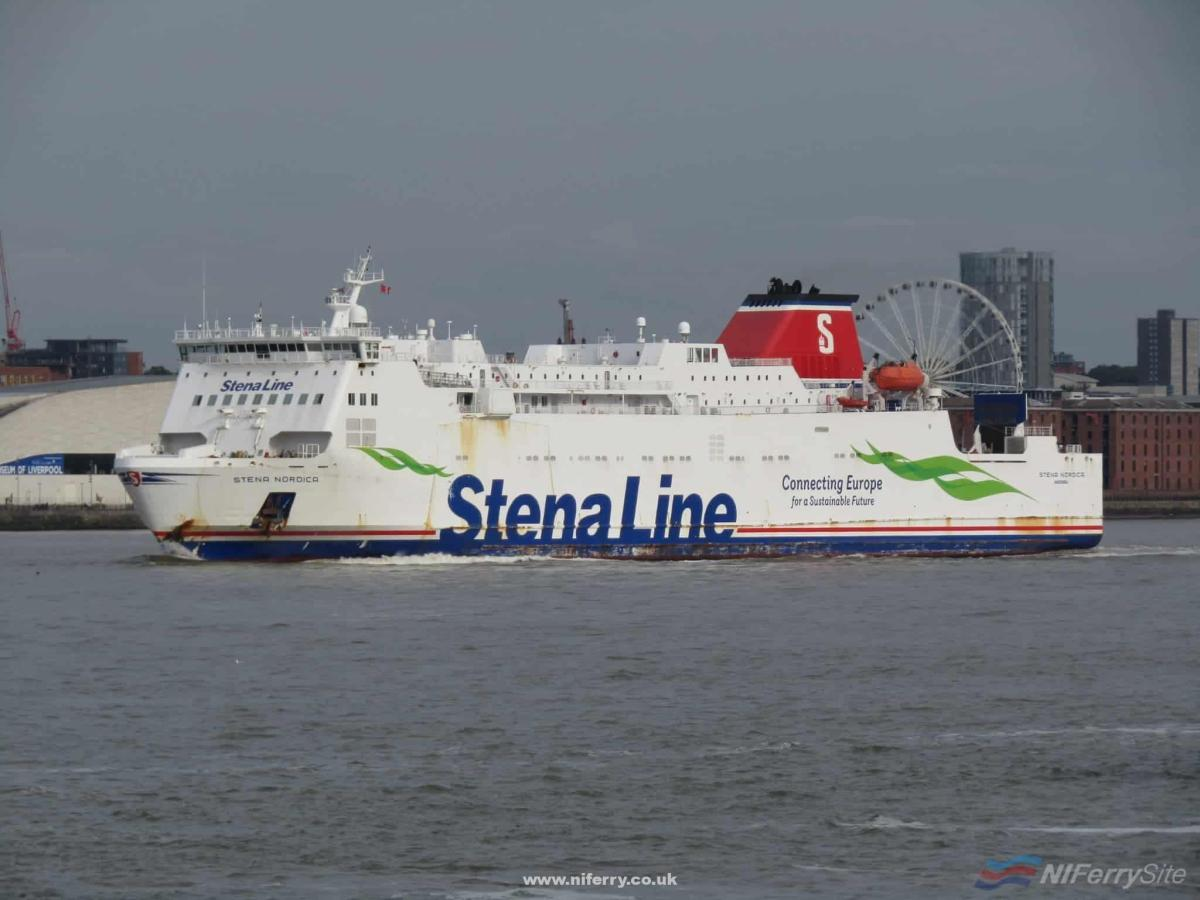 STENA NORDICA seen in the River Mersey with Liverpool in the background. Copyright © Rob Foy.