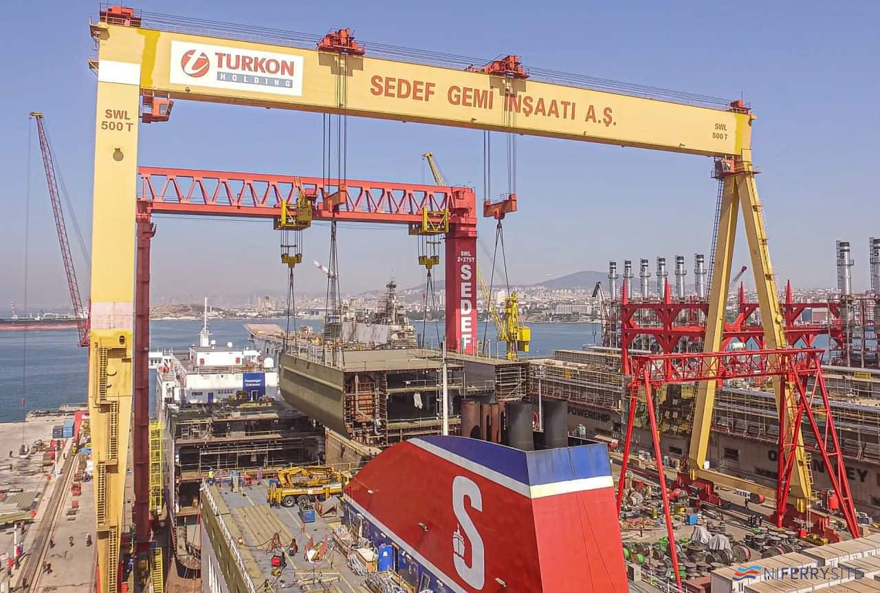 The first part of SEDEF new build number 207, a new 36m section for <strong>STENA LAGAN</strong>, is lifted into place.  The 960 ton section is the heaviest ever lifted in Turkey according to the yard. Copyright © SEDEF Shipbuilding.