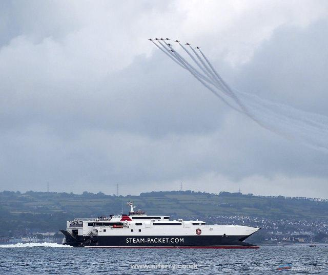 Manannan pictured in Belfast Lough, with the Red Arrows flying overhead. Taken during the Tall Ships festival, 2015. Copyright © Ross McDonald.