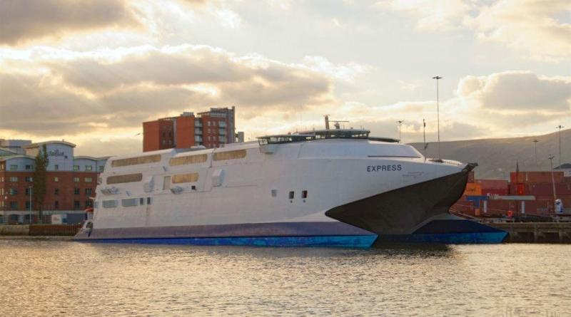 Buquebus' InCat Express, laid up at Belfast's Albert Quay, following the completion of some 15 years of service for P&O. Copyright © Steven Tarbox 2015.