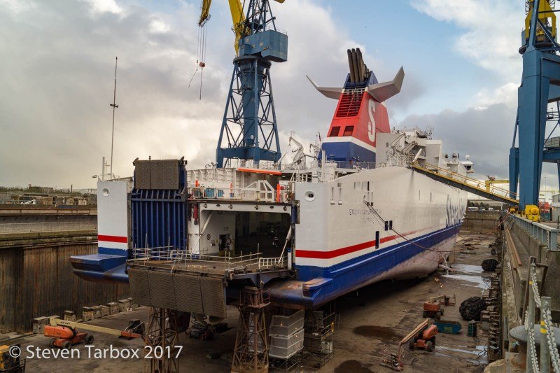 """Stena Superfast VII in dry dock at Harland & Wolff. Taken during a visit by <a href=""""http://wp.me/p4mKUi-MF"""" target=""""_blank"""">NI Ferry Enthusiasts</a> . Copyright © Steven Tarbox, all rights reserved."""