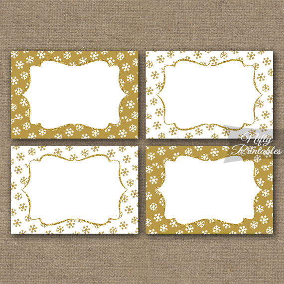 Gold Snowflakes Holiday Labels Favor Tags Nifty Printables