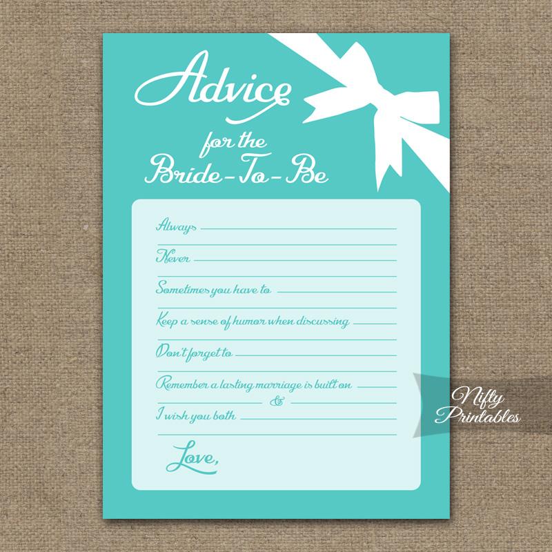 Bridal Shower Advice Cards Tiffany Blue