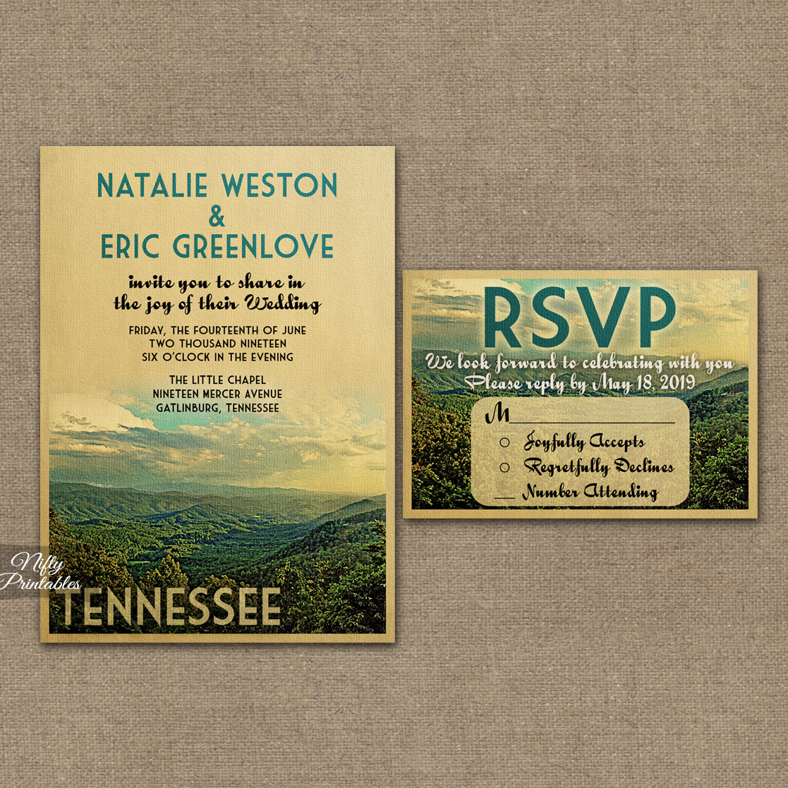 Save Date Cards Mountain Theme