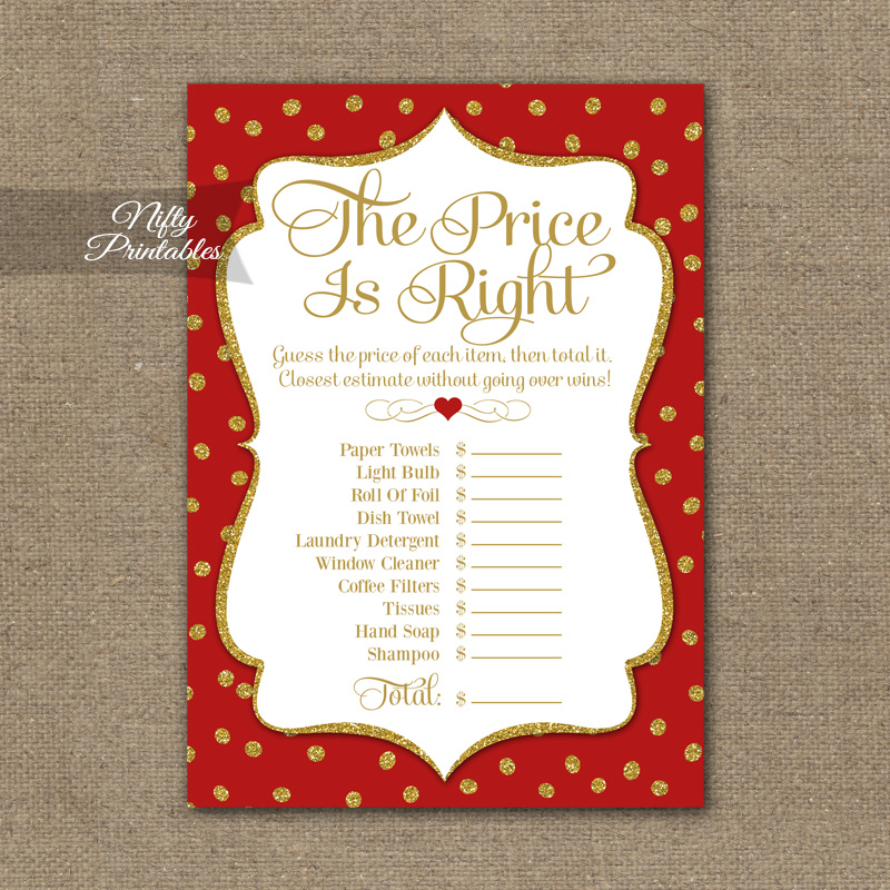 Price Is Right Bridal Shower Game Red Gold Holiday