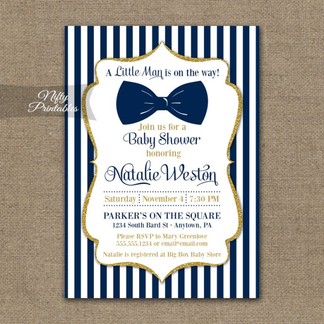 Bow Tie Baby Shower Invitations Navy Blue Gold