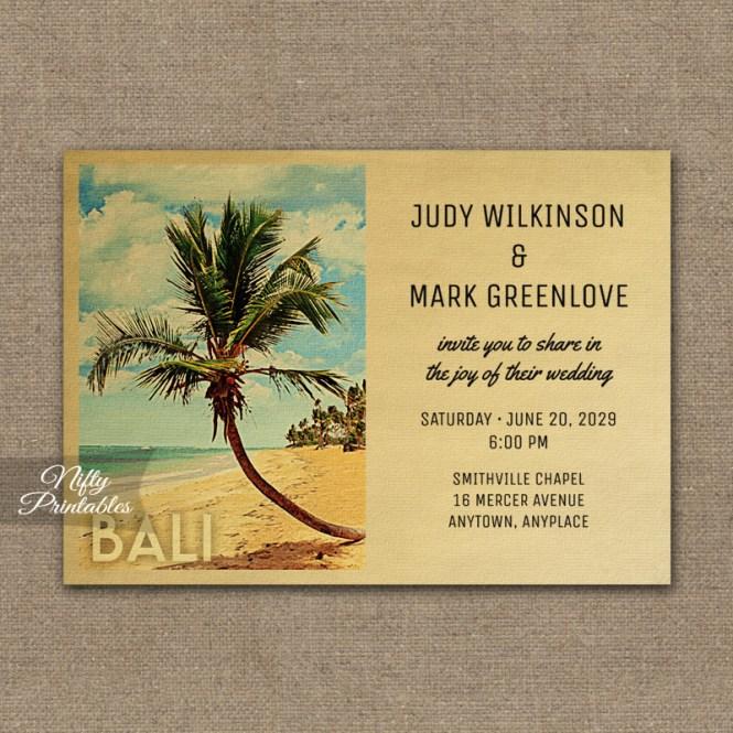 Bali Wedding Invitation Palm Tree