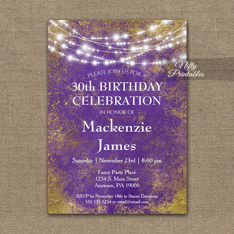 birthday invitations purple gold lights