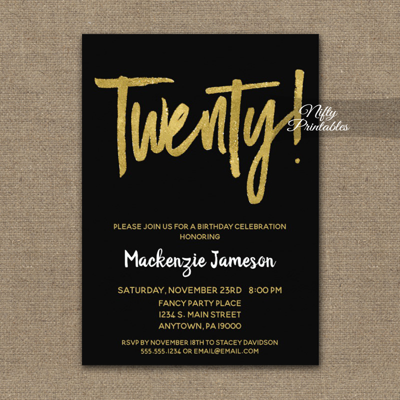 20th Birthday Invitation Black Gold Script PRINTED Nifty