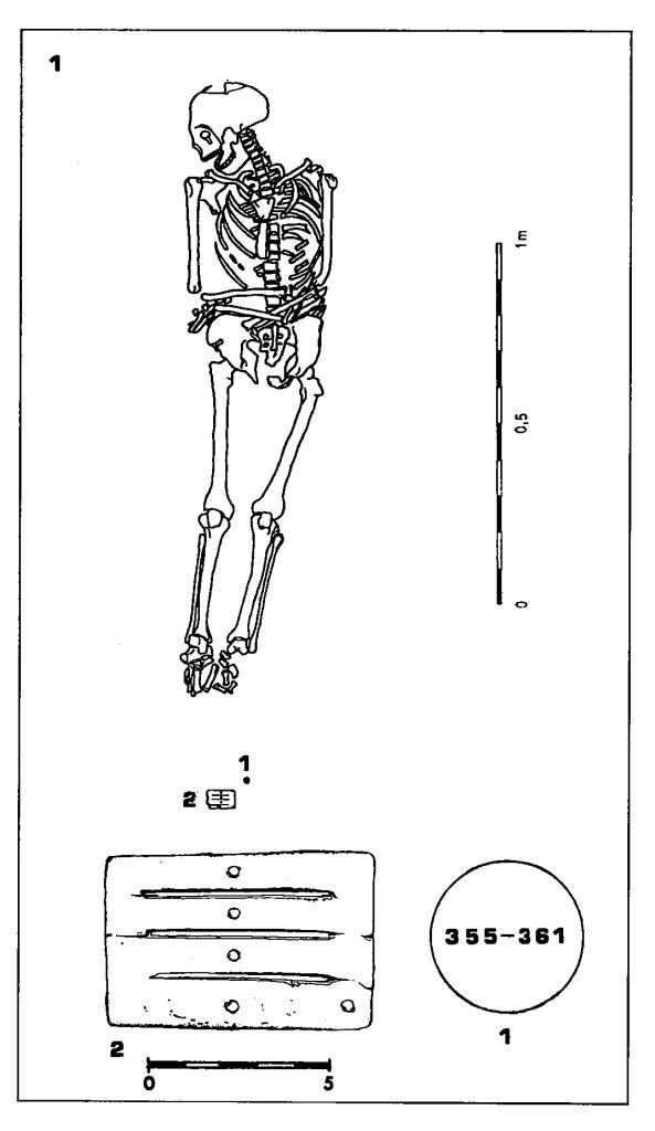 """Bardko kościane z 4 w. n.e. Chorwacja Ilustracja z artykułu Zoran Gregl """"Kasnoanticka Nekropola Štrbinci kod Đakova"""""""