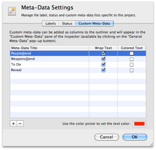 Metadata Settings