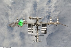Frog ribbit-ing the solar panels onto the International Space Station