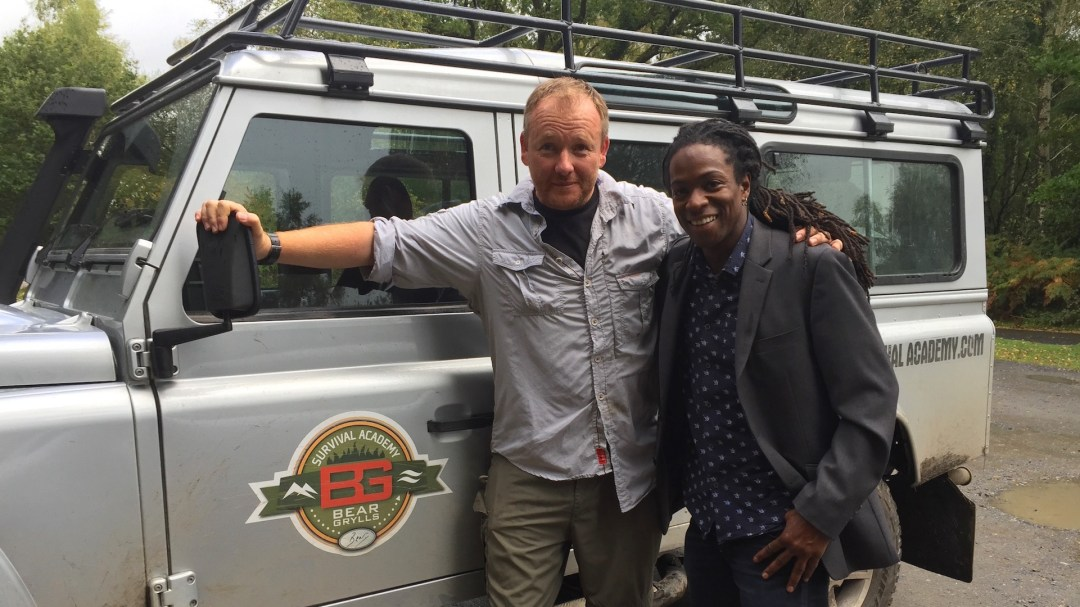 Jay from Bear Grylls Survival Academy and Nigel Clarke on set of 'The Good Dinosaur - Access All Areas' Filmed in Dartmoor