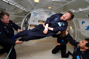 Image of Stephen Hawking experiencing zero gravity in a cargo plane