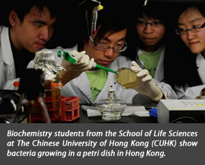 Biochemistry students from the Shool of Life Sciences at the Chinese University of Hong Kong