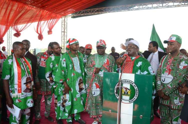 Governor Umahi addressing the people of Ikwo Noyo