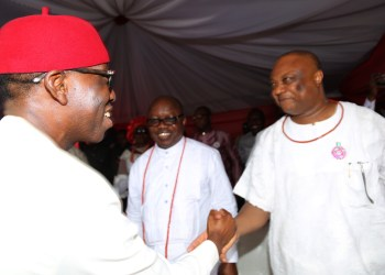 Governor Ifeanyi Okowa of Delta State and Chief Great Ogboru at a recent function.