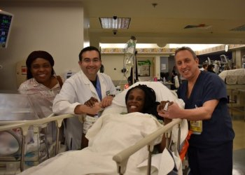 Thelma Chiaka with Woman's Hospital of Texas delivery team
