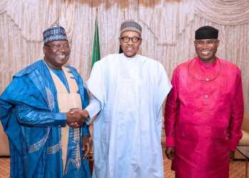 President of the Senate, Senator Ahmed Lawan, President Muhammadu Buhari and Deputy Senate President, Senator Ovie Omo-Agege during a courtesy call on Mr President at the State House Abuja