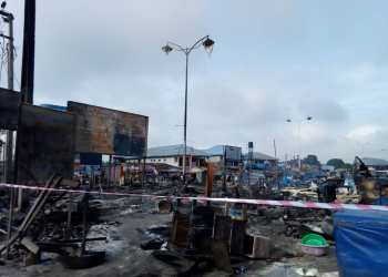 Section of the market affected by the fire