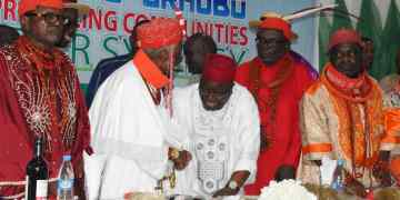 Pix caption: DESOPADEC Managing Director, Chief Askia Ogieh exchanging pleasantries with Urhobo monarchs during the DESOPADEC town hall meeting with Urhobo ethnic nationality.