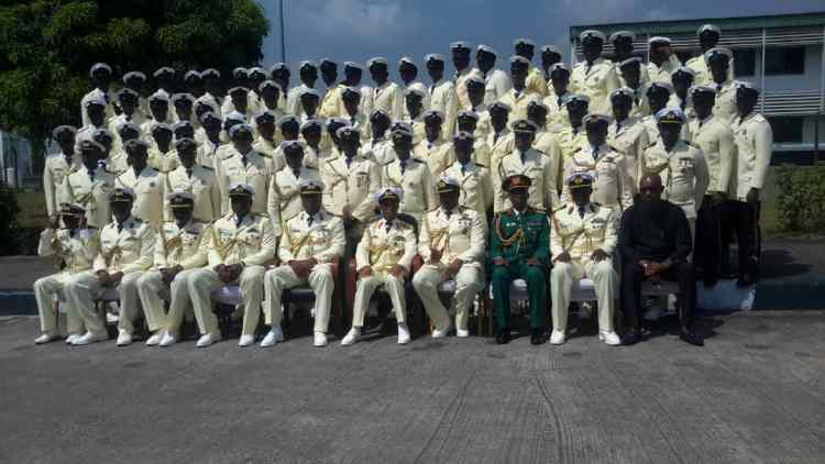 Fifth from right: The FOC  Nigerian Naval Training Command, Rear Admiral S. Enoch, Commandant of the NNEC, Commodore S. Yahaya and other Officers after the ceremony