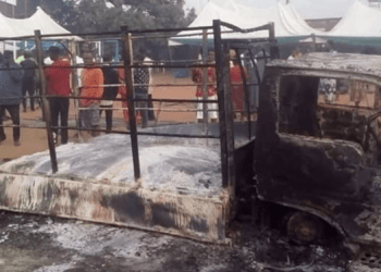 The supposed venue set ablaze by political thugs in Auchi