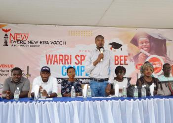 INEW Chief Watcher, Mr Monoyo Edon addressing contestants during the Warri Spelling Bee Competition