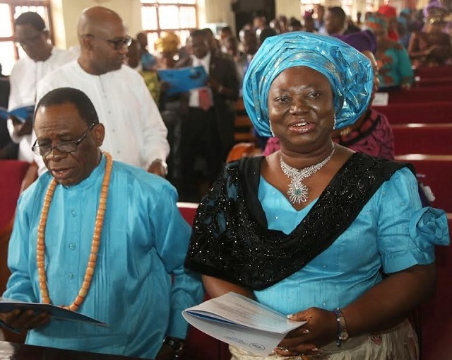Former deputy governor of Delta state, Prof. Amos Utuama and his wife, Nelly during a church ceremony recently.