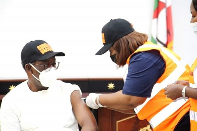 Governor Ifeanyi Okowa receiving COVID-19 Vaccine on Friday