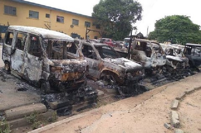 File photo of gunmen attack on a police command in Imo State