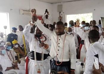 Prince Tsola Emiko being declared as Olu-designate by Iyatsere of Warri