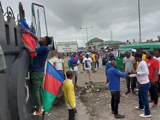 Protesting Ijaw youth in Bayelsa State