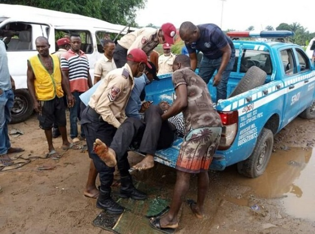 One of the victims being rescued from the scene of the accident