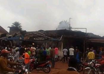 Scene of the fire outbreak in Ogwashi-Uku