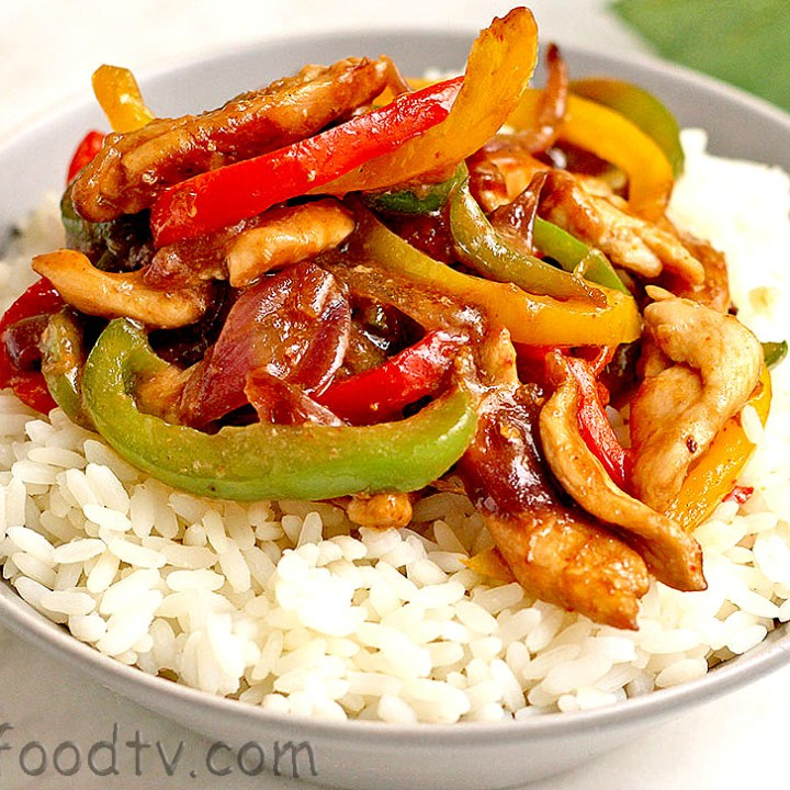 chicken stir fry with bell peppers