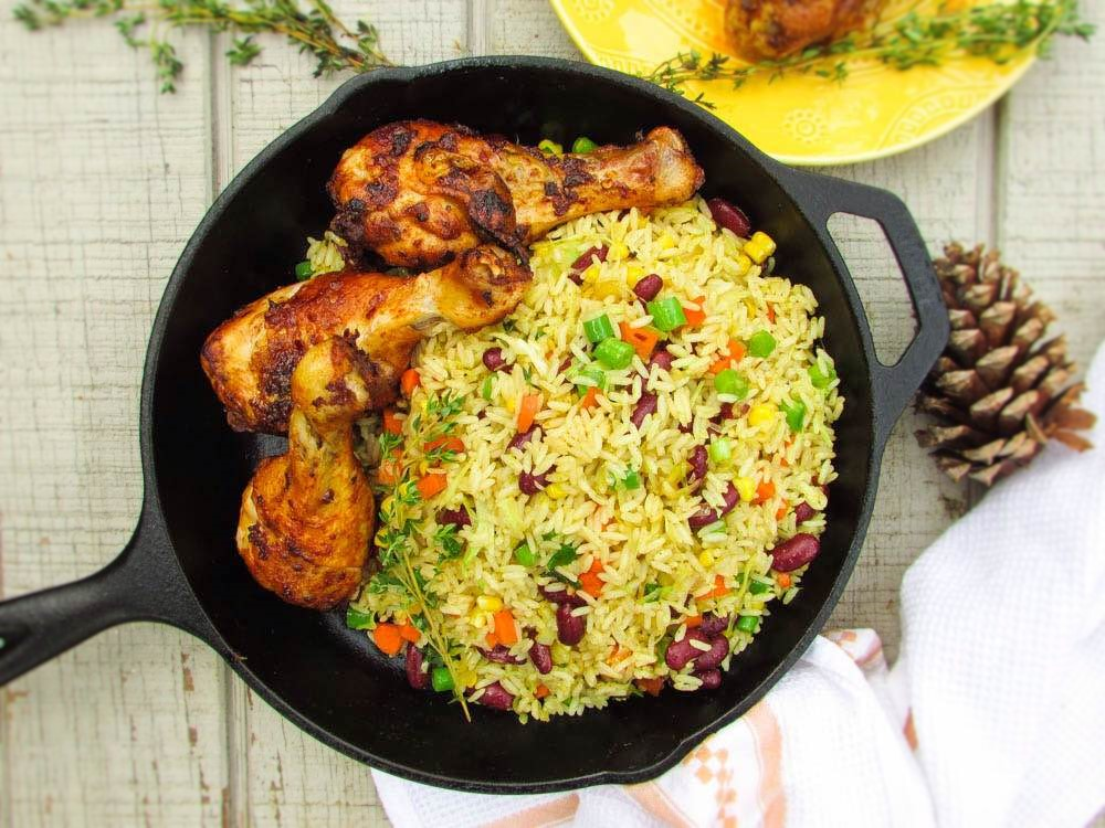 Image result for fried rice and chicken