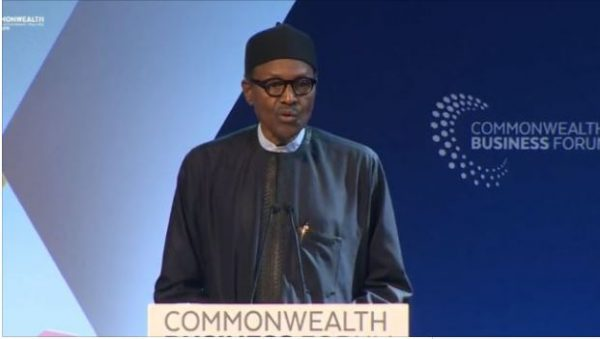 Image result for See photos from the Commonwealth Business Forum where Buhari said Nigerian youths just want to sit and do nothing