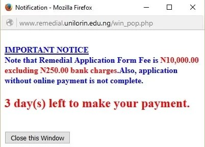 Unilorin Remedial Application Form