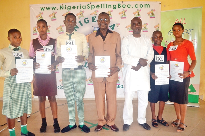 Host Principal (Middle) and Chief Adjudicator (in White) with Abia's Top5 spellers