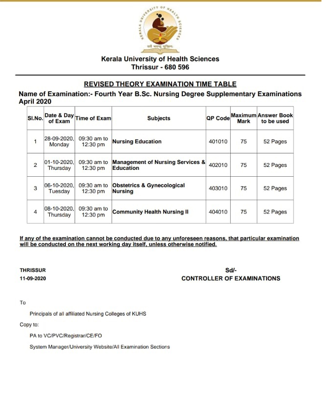 Revised theory examination timetable Bsc Nursing