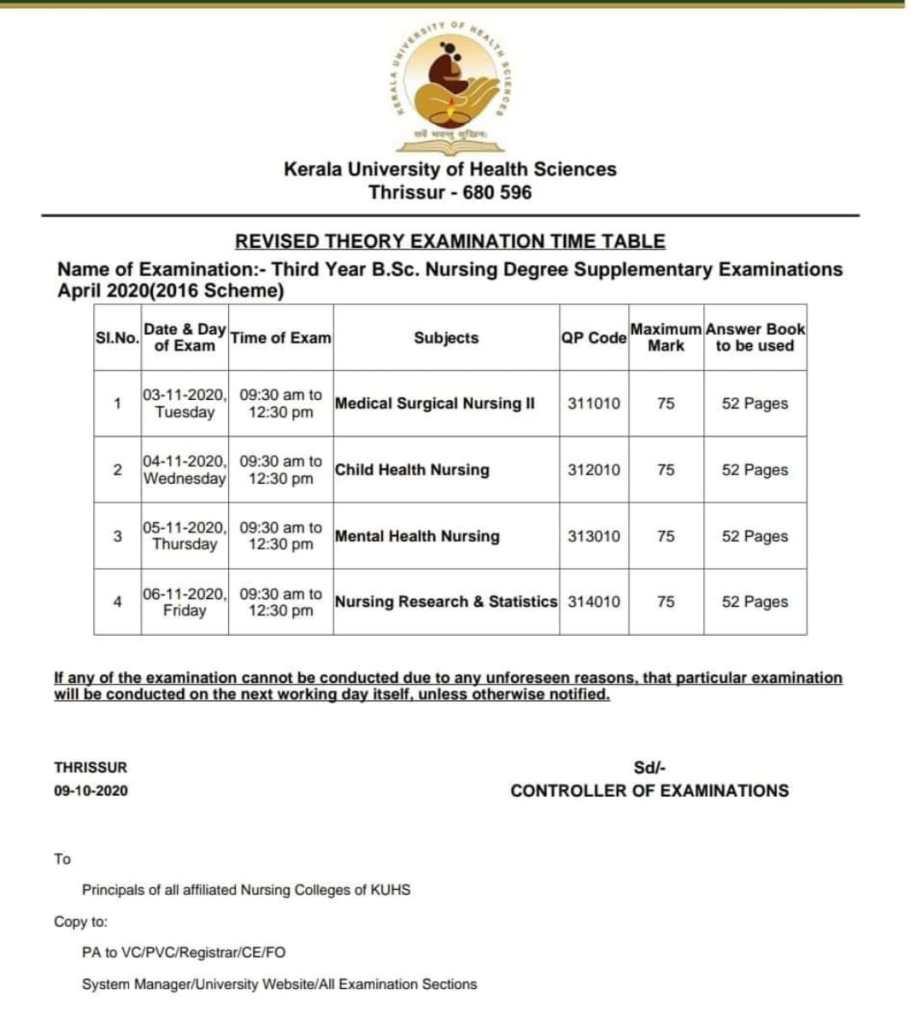 bsc nursing supply exam date 2020