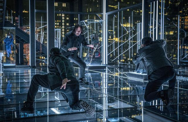 John Wick learns that fighting in a room full of glass is not optimal