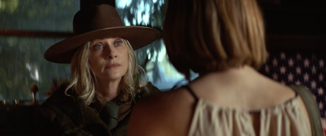 Barbara Crampton laying down the rules of Yosemite in STAY OUT STAY ALIVE